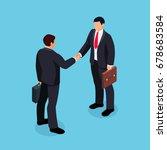 isometric businessmen shake... | Shutterstock .eps vector #678683584