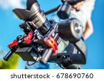Video Camera Stabilization System. Video and Film Production DSLR Equipment. - stock photo