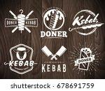 doner kebab logos. vector kebab ...   Shutterstock .eps vector #678691759