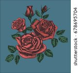 red roses on blue background  ... | Shutterstock .eps vector #678695704