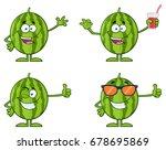 green watermelons fruit cartoon ... | Shutterstock .eps vector #678695869