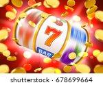 golden slot machine with flying ... | Shutterstock .eps vector #678699664