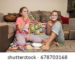 lovely young girls relax and... | Shutterstock . vector #678703168