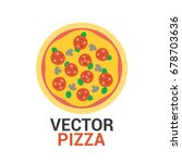 pizza with pepperoni  mushrooms ... | Shutterstock .eps vector #678703636