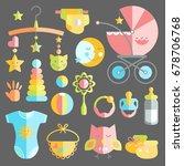 newborn infant themed cute flat ...   Shutterstock .eps vector #678706768