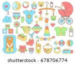 newborn infant themed cute flat ... | Shutterstock .eps vector #678706774