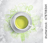 green tea with circle ecology... | Shutterstock . vector #678708364