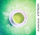 green tea with circle ecology... | Shutterstock . vector #678708394
