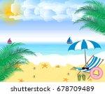 summer holidays. beach seashore.... | Shutterstock .eps vector #678709489
