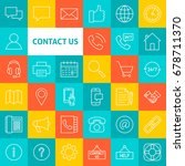 vector line contact us icons.... | Shutterstock .eps vector #678711370