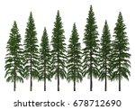 3d Illustration Trees Row...