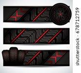 black rubber tires on red... | Shutterstock .eps vector #678712759