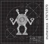 vector blueprint retro robot...   Shutterstock .eps vector #678715570