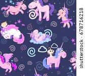 cute unicorn seamless pattern ... | Shutterstock .eps vector #678716218