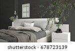 Stock photo modern bedroom with big olive tree concrete wall minimalist interior design d illustration 678723139