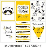 vector cards with cute happy... | Shutterstock .eps vector #678730144