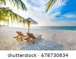 sunny beach landscape. summer... | Shutterstock . vector #678730834