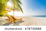 happy sunny beach with loungers ... | Shutterstock . vector #678730888