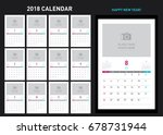 simple photo calendar layout... | Shutterstock .eps vector #678731944