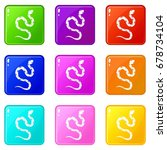 venomous snake icons of 9 color ... | Shutterstock .eps vector #678734104