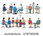 office work   teamwork  3d...   Shutterstock . vector #678740698