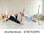 yoga practice exercise class... | Shutterstock . vector #678741094