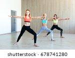 yoga practice exercise class... | Shutterstock . vector #678741280