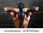 man workout with kettle bell | Shutterstock . vector #678749260
