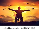 disabled handicapped man has a... | Shutterstock . vector #678750160