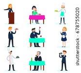 people in restaurant set with... | Shutterstock .eps vector #678755020