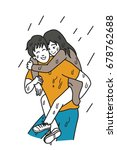 man carry his girlfriend on his ... | Shutterstock .eps vector #678762688