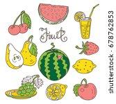 set of vintage fruits  pear ... | Shutterstock .eps vector #678762853