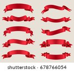ribbon banner set.red ribbons... | Shutterstock .eps vector #678766054