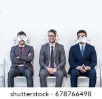 businessmen in suits sitting on ... | Shutterstock . vector #678766498