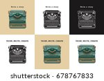 set of 6 vintage cards with... | Shutterstock .eps vector #678767833