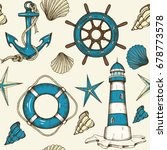 nautical seamless pattern with... | Shutterstock .eps vector #678773578