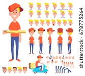 pizza delivery set with... | Shutterstock .eps vector #678775264