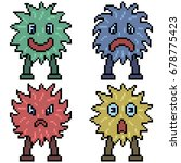 vector pixel art set monster... | Shutterstock .eps vector #678775423