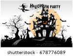 halloween pumpkins and dark... | Shutterstock .eps vector #678776089