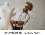 blonde bearded male dressmaker... | Shutterstock . vector #678807694