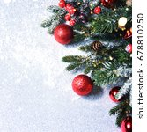 christmas card with fir and... | Shutterstock . vector #678810250