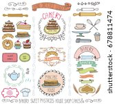 bakery vintage badges labels... | Shutterstock . vector #678811474