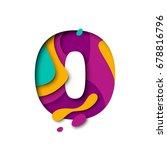 paper cut zero or null letter.... | Shutterstock .eps vector #678816796