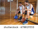 male basketball players talking ... | Shutterstock . vector #678819553