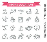 location icons  thin line design | Shutterstock .eps vector #678820150
