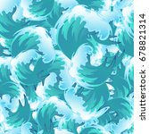 sea blue water wave seamless... | Shutterstock .eps vector #678821314