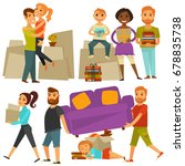 home move people moving from... | Shutterstock .eps vector #678835738
