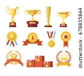 awards cups  winner medals or... | Shutterstock .eps vector #678835864