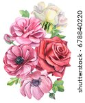 greeting card a bouquet of pink ... | Shutterstock . vector #678840220