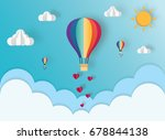 origami of hot air balloon over ... | Shutterstock .eps vector #678844138